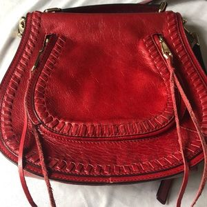 Rebecca minkoff red small vanity saddle purse